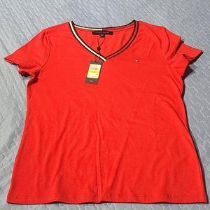Tommy Hilfiger Women's V-Neck Cotton T-Shirt - Sca